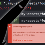 Atomの『autocomplete-paths』で「Maximum file count of 2000 has been exceeded.」エラー